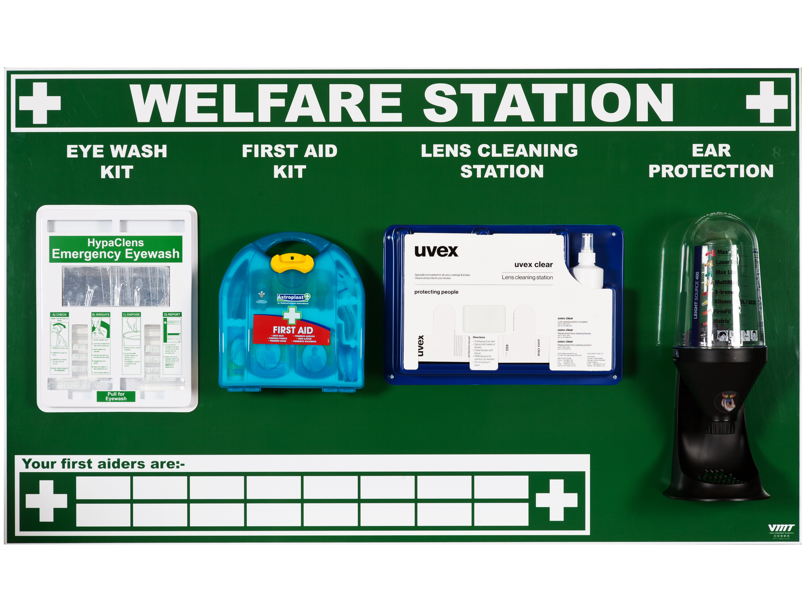 Welfare Station With Eye Wash Kit First Aid Kit Lens Cleaning Station And Ear Protection