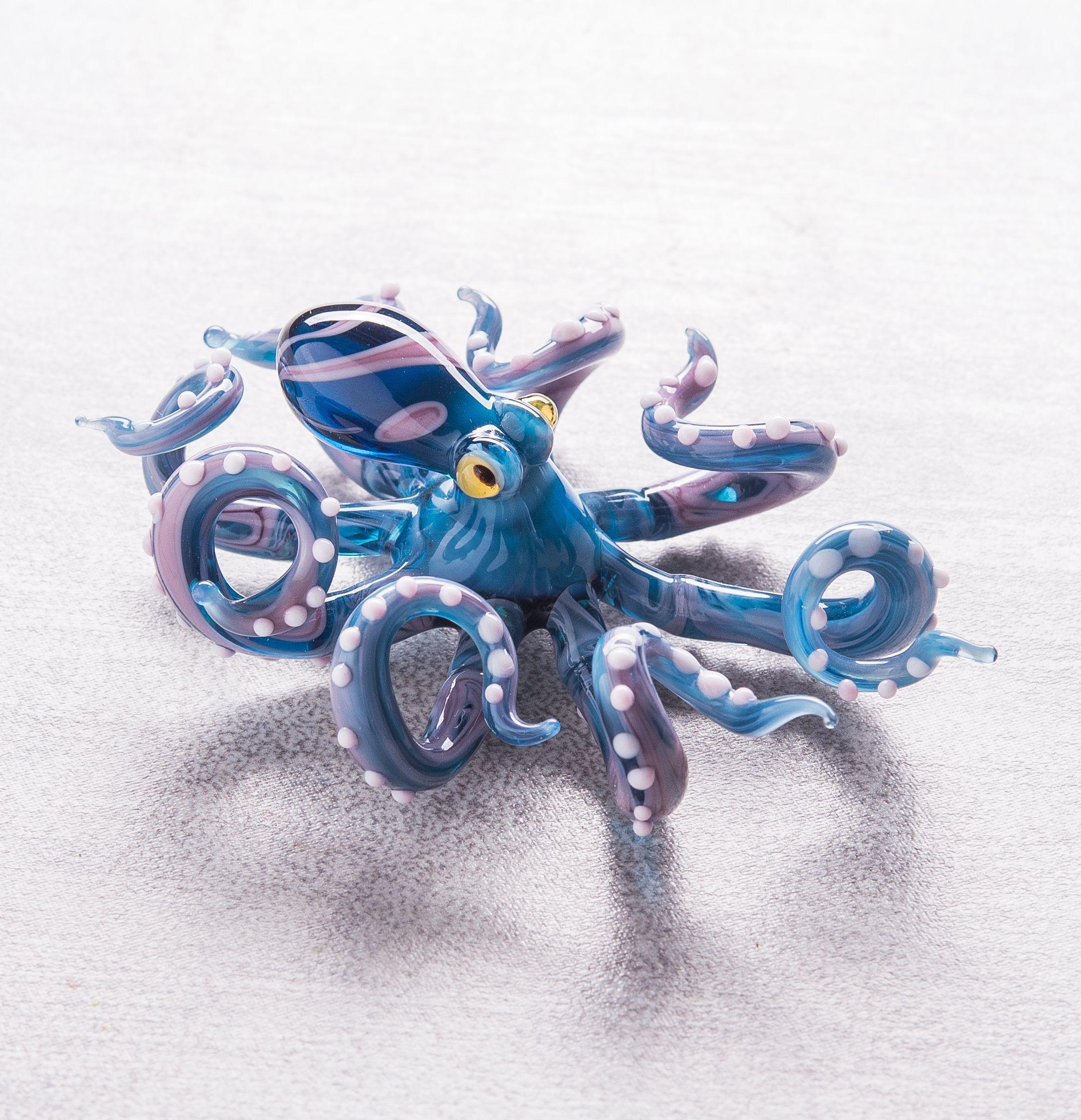Glass Octopus Glass Blown Glass Octopus Blown Glass Octopus Octopus Sculpture Octopus Figurine Squid Cephalopod Ocean Kraken