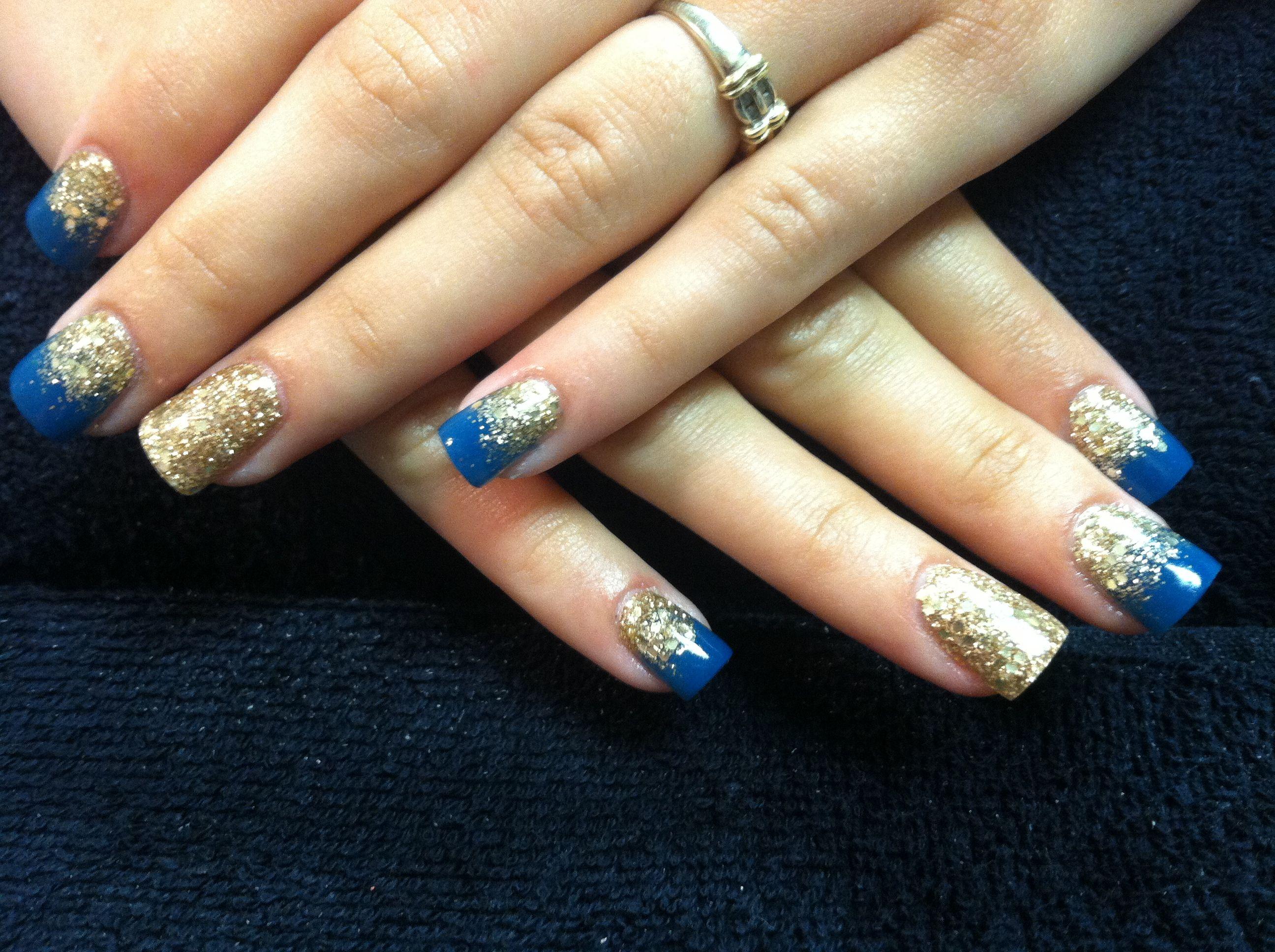 Acrylic nails gold blue glitter fade my acrylic nails for Acrylic nails at salon