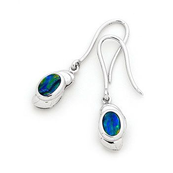 2 stones 6mm x 4mm Oval This attractive Sterling Silver Light Opal Doublet Earrings , a fine addition to an jewellery collec