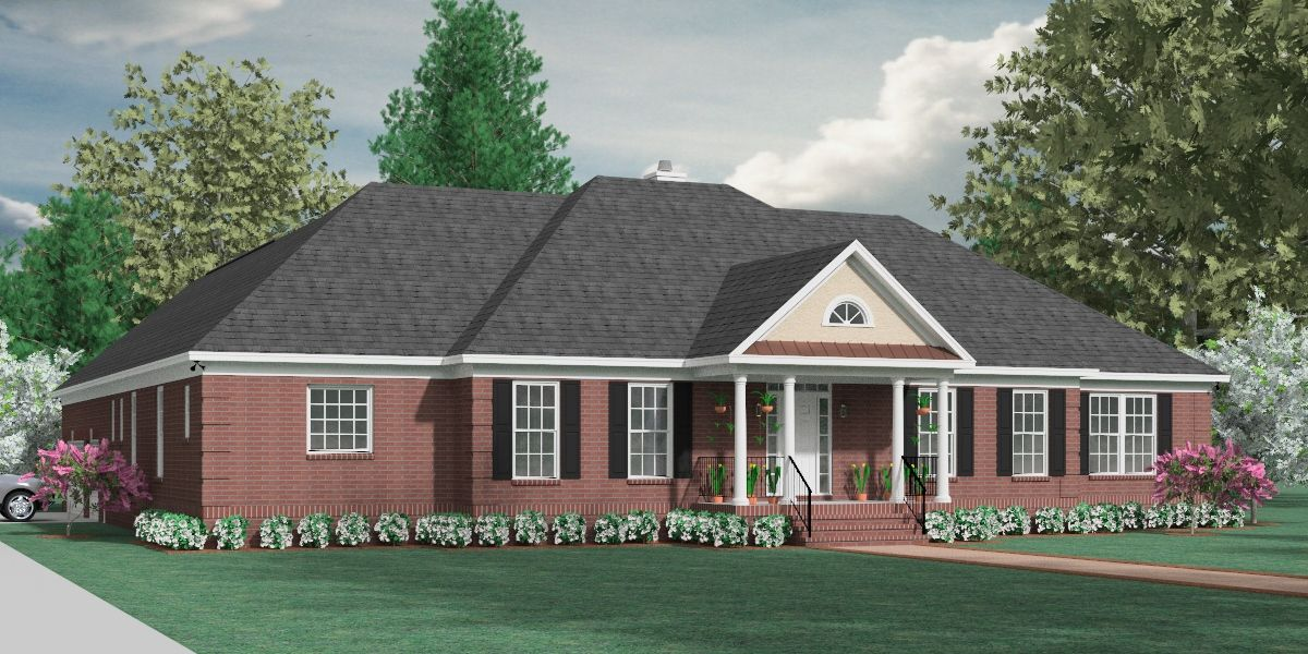 Front Elevation One Story : House plan a the stafford quot front elevation one