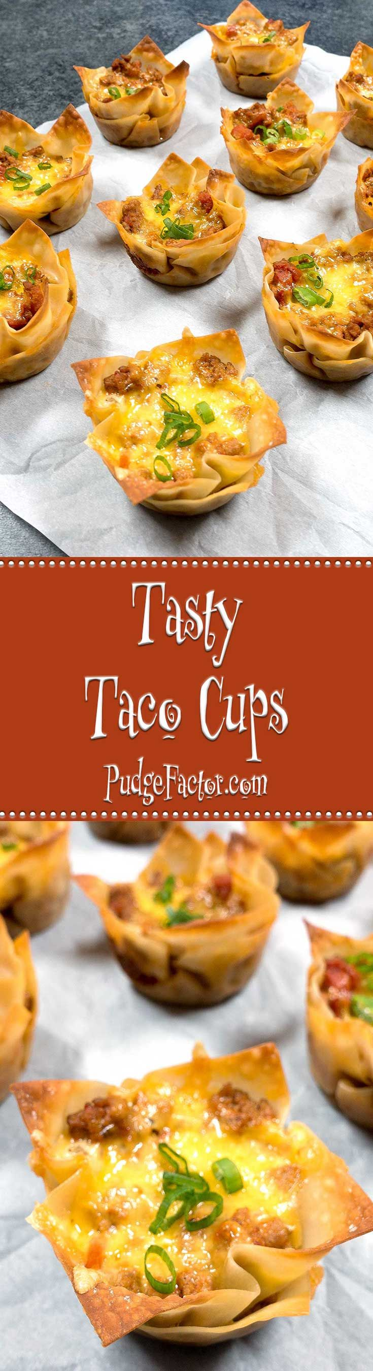 Tasty taco filling layered with melted cheese in crispy wonton wrappers makes the perfect easy to make appetizer.  via /c2king/