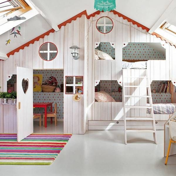 girls bedroom ideas, attic girl room design with small playhouse