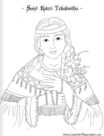 Saint Kateri Tekakwitha Catholic Coloring Page Feast Day Is July 14th