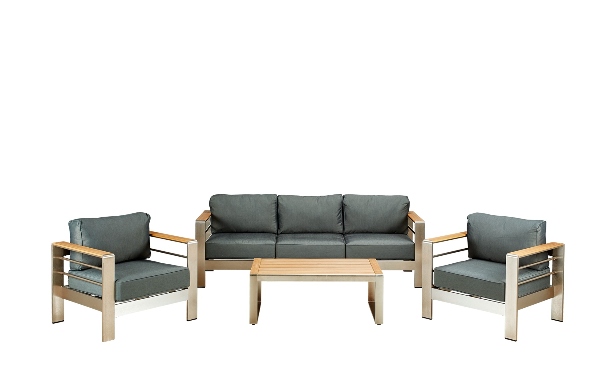 a casa mia Outdoor-Lounge-Sitzgruppe New YorkgrauMaterialmix ...