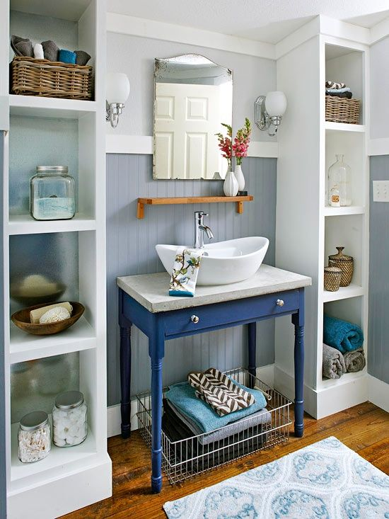 Tiny bathroom? Here are 7 ways to make small spaces work for you. I like this style of sink, and the blue vanity. Is it called a vanity if it has no cabinets?
