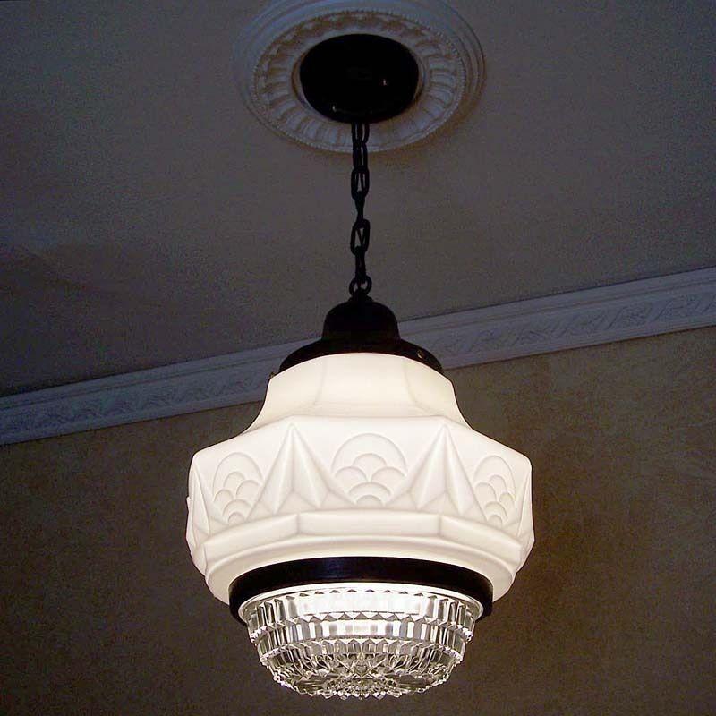 Details about 276 vintage 30s art deco ceiling lamp light