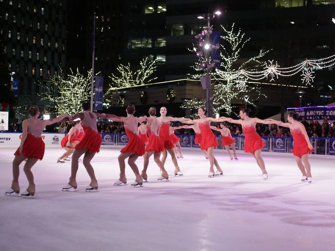 Dearborn Figure Skating Club's Crystallettes perform during Detroit Tree lighting ceremony 11-20-15.