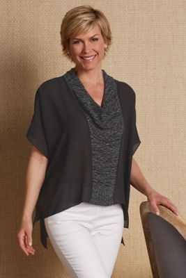 Firenze Flutter Top - Drapey Cowl Top, Chiffon Top | Soft Surroundings