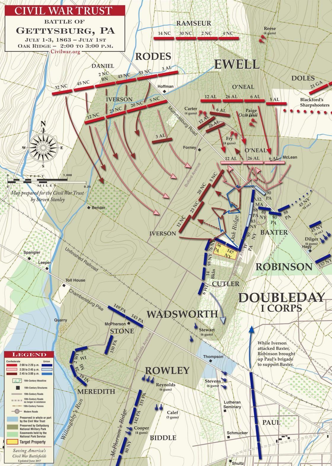 Oak Ridge Nc Map.Gettysburg Oak Hill And Ridge 2 00 3 00pm Civil War Battle