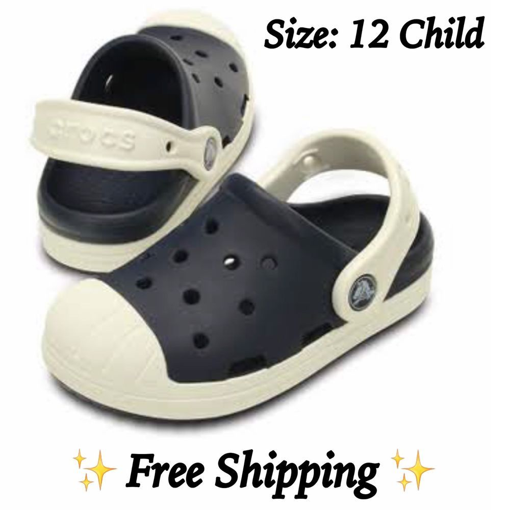 7d59e1d97 ⭐NEW⭐Crocs Kids  Bump It Clog Sneaker Inspired Style Navy Oyster Size  12  Child