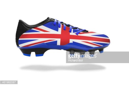 885fe9a7a Stock Photo : A football boot with a British flag design   All ...