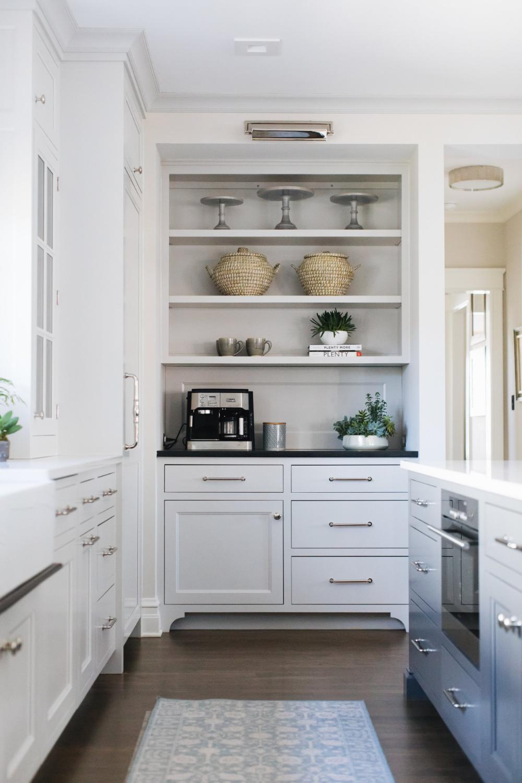 Elmwood Jean Stoffer Design In 2020 White Modern Kitchen Coffee Bars In Kitchen Kitchen Cabinet Design