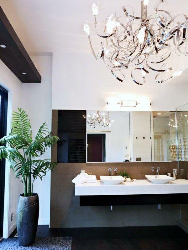 Badezimmer Puristisch Minimalistisch Braun Beige Kronleuchter