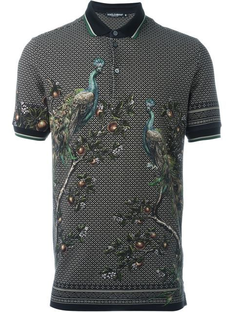 bb40f3c3 DOLCE & GABBANA Peacock Print Polo Shirt. #dolcegabbana #cloth #shirt