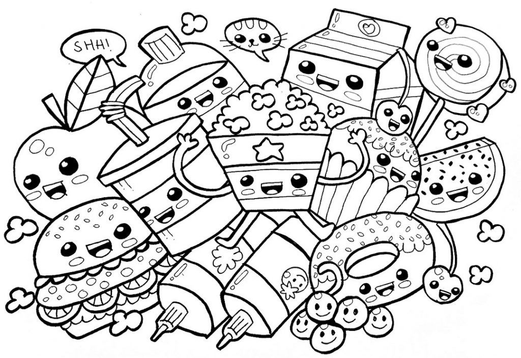 Food Coloring Pages Cute food drawings, Cute coloring