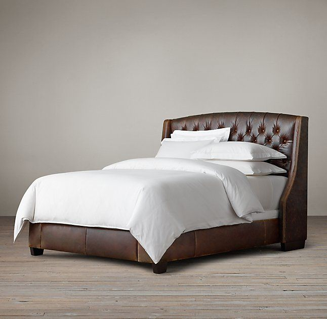 Warner Tufted Leather Bed With Nailheads | bedrooms | Pinterest