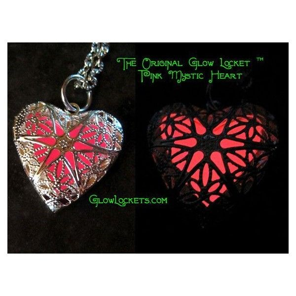 Pink Mystic Heart Glow Locket Glowing in the dark Silver ❤ liked on Polyvore featuring jewelry, glow in the dark jewelry, silver jewelry, heart shaped locket, pink jewelry and silver jewellery