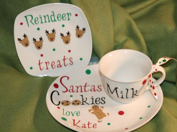 Personalized Cookies for Santa plate reindeer plate and milk mug $29.00 by durkina Great way to leave cookies out for Santa and carrots for the reindeer.