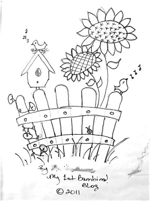 Picket fence and birdhouse Coloring Pages Pinterest