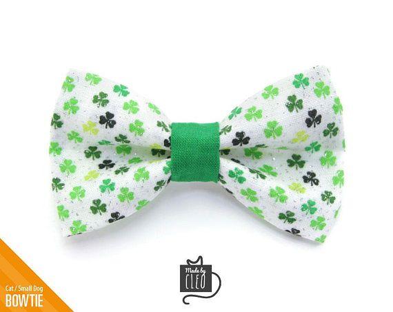 e182eb061cd2 St. Patrick's Day Cat Bow Tie -
