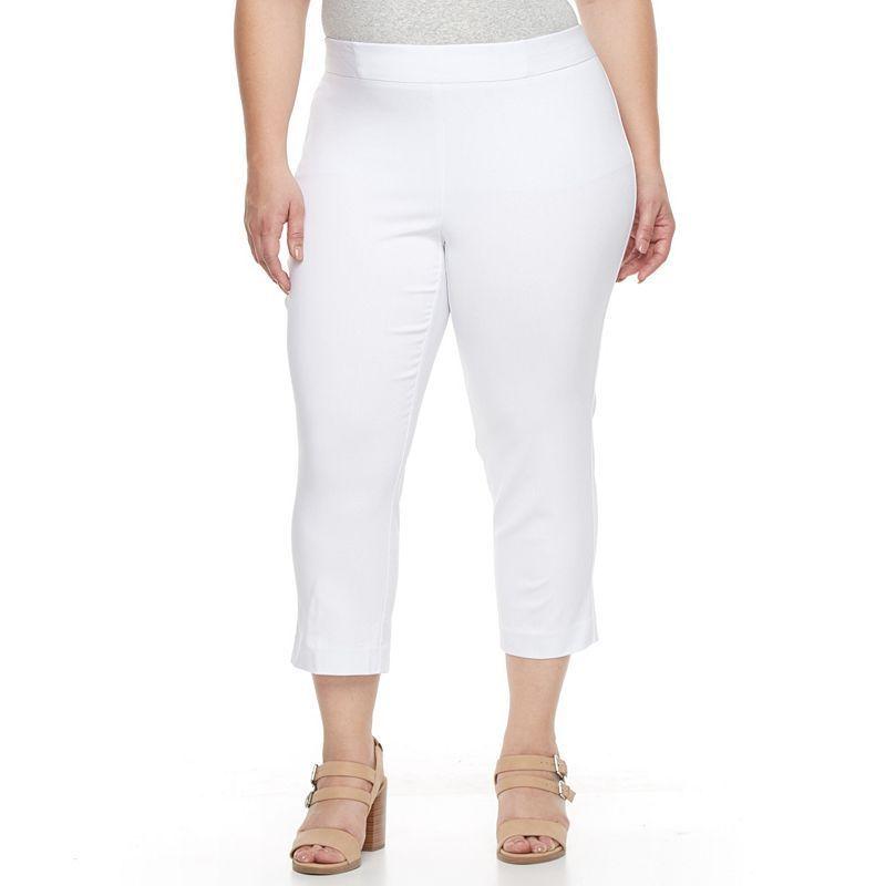 Plus Size Napa Valley Straight Leg Pull On Dress Capris Womens