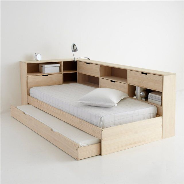 image Lit avec tiroir, étagères et sommier, pin massif, Yann La Redoute Interieurs   Lit tiroir ...