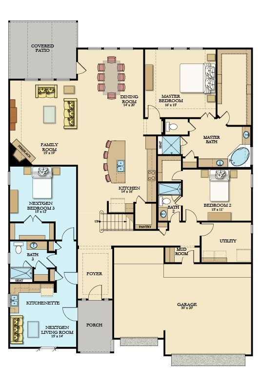 Amethyst Next Gen New Home Plan In Tavola Texas Reserve Collection By Lennar Multigenerational House Plans New House Plans Multigenerational House