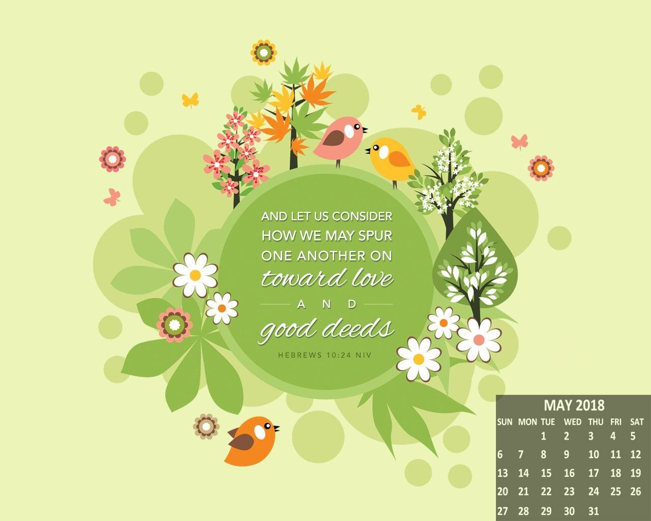 Free May 2018 Wallpaper Calendar Hebrews 10 Christian