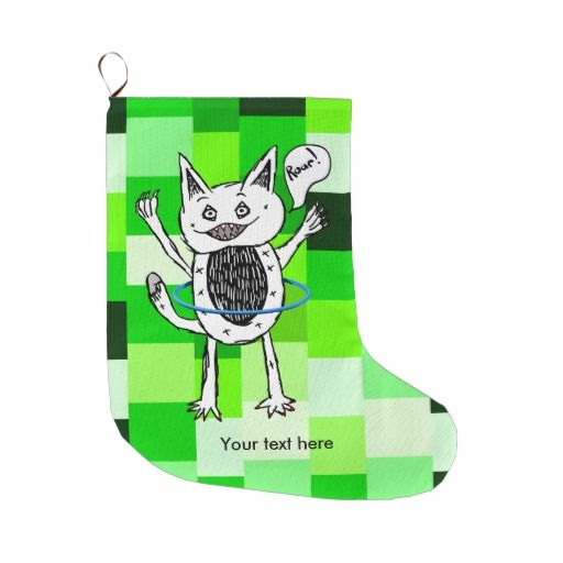 Little Black And White Monster Illustration Large Christmas Stocking by earlykirky