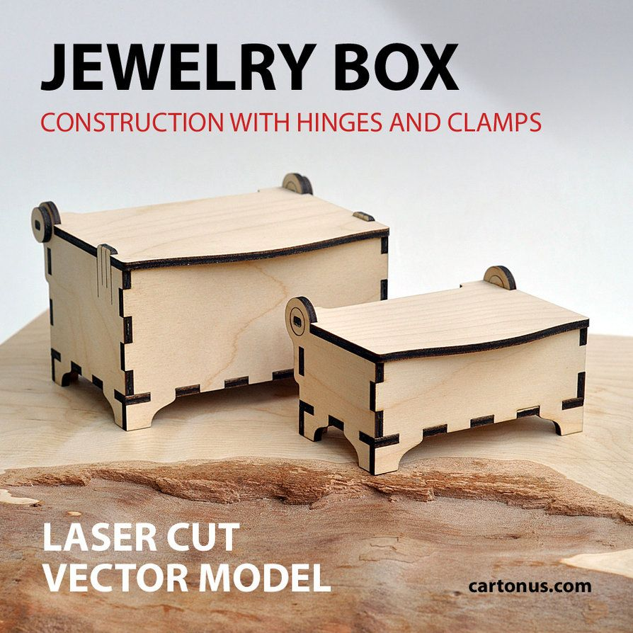 Wooden jewelry box with hinges Vector planmodel for laser cutter