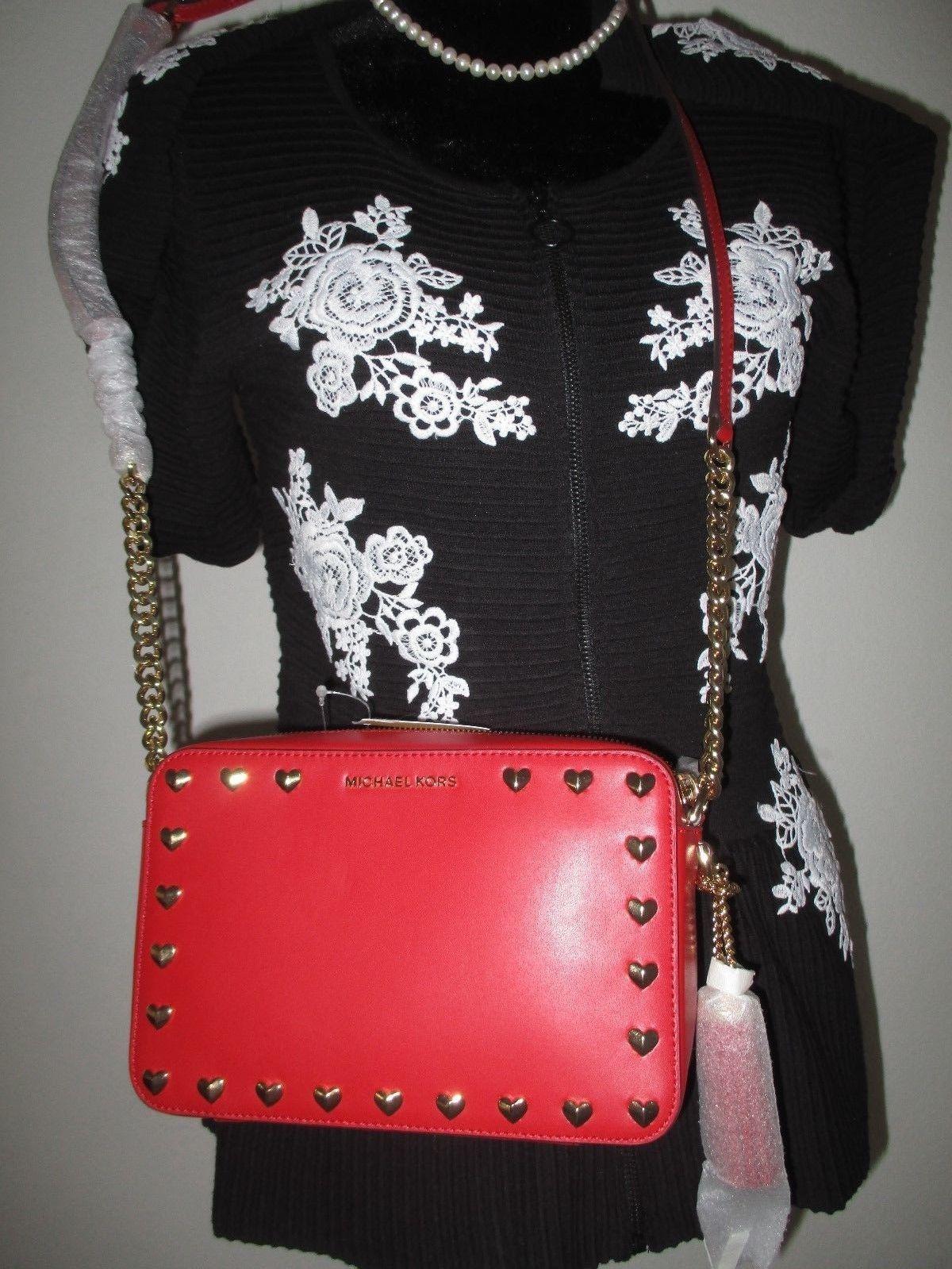 001c7e314c3c MICHAEL KORS Ginny Medium Camera Bag Red Gold Hearts Crossbody ...