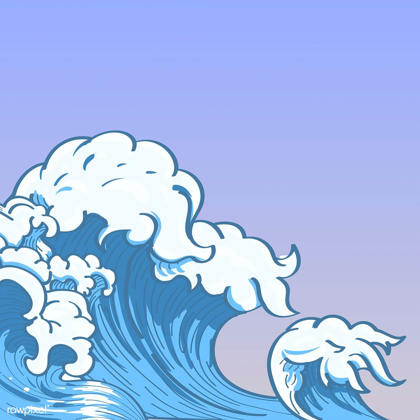 Blue Japanese wave background vector free image by