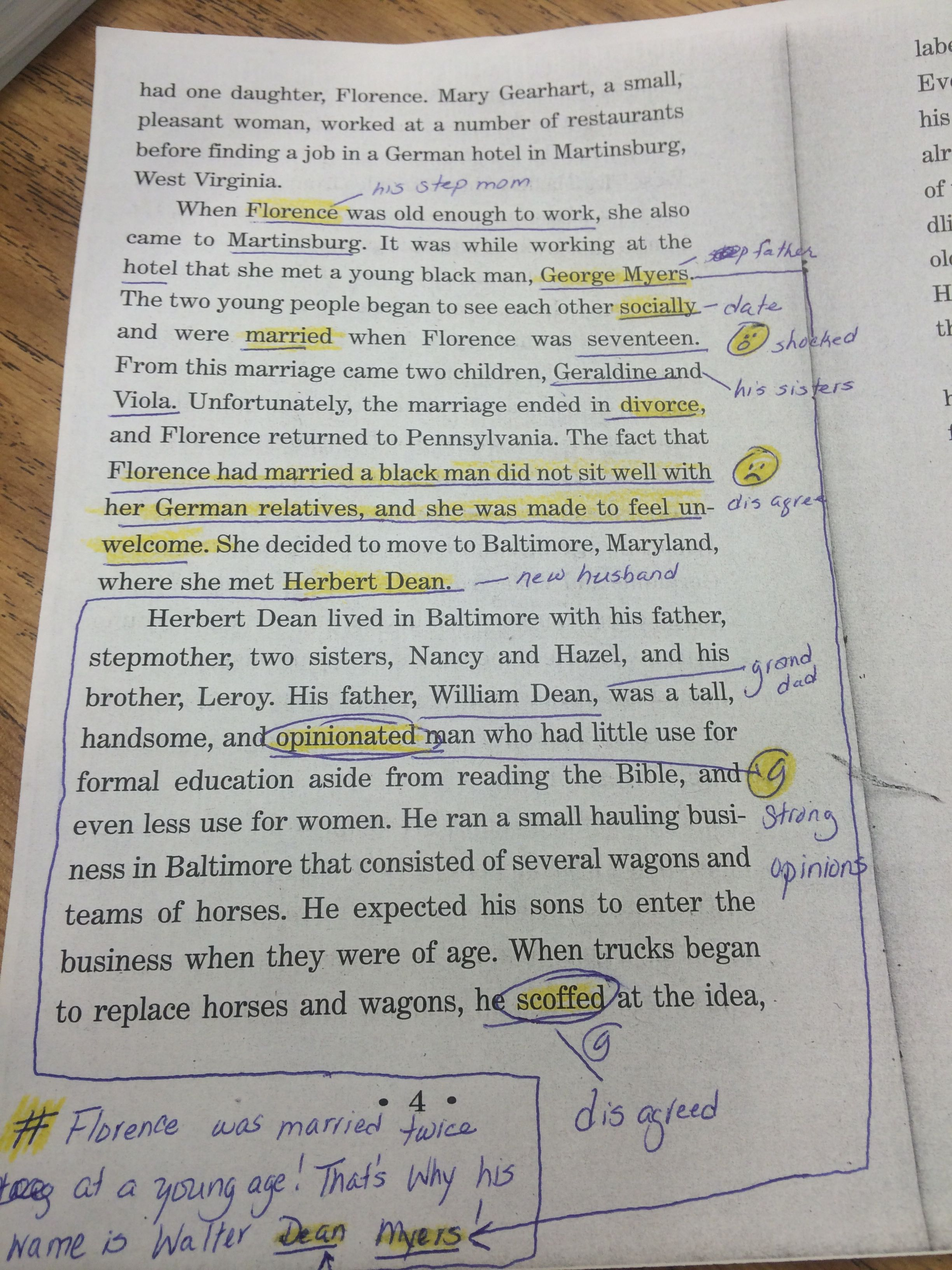 Example of a beginner annotation page from the novel bad