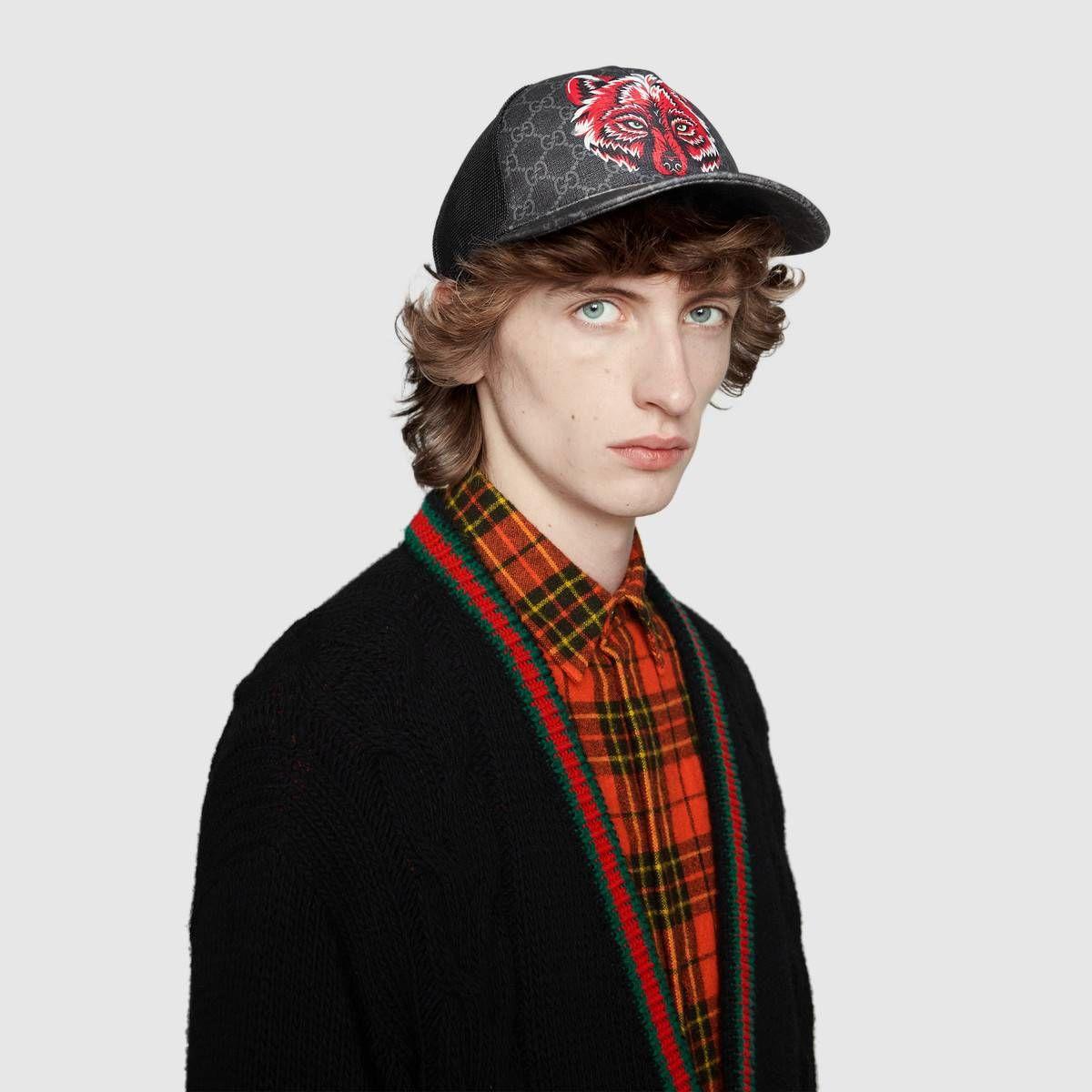 684f7e0816bca GUCCI GG Supreme baseball hat with wolf.  gucci
