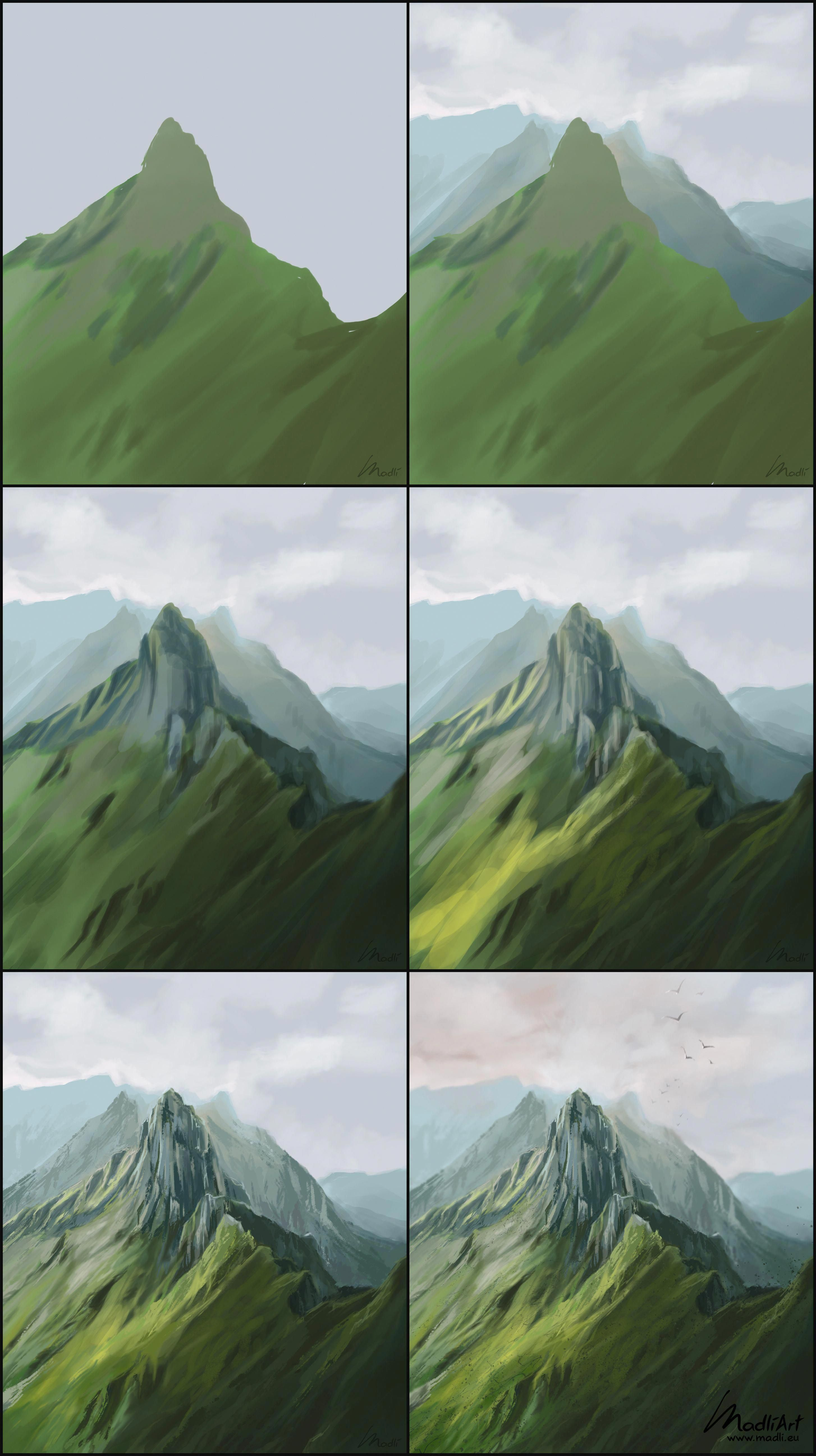 How To Paint Green Mountain Summit Scene Digital Painting Of Mountains In Switzerland B In 2020 Digital Art Beginner Concept Art Tutorial Landscape Paintings Acrylic