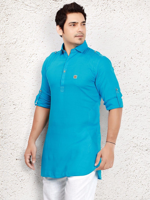 98c41154 Blue Cotton Plain Short Pathani. Blue Cotton Plain Short Pathani Short Kurta  For Men ...