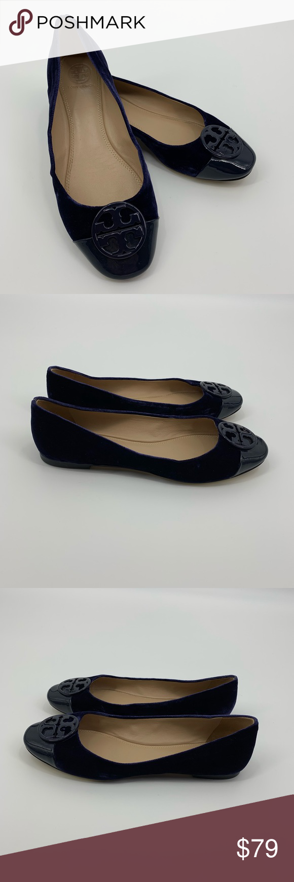 8307728c7068 Tory Burch Blue Chelsea Cap Toe Velvet Ballet Flat This is a pair of Tory  Burch