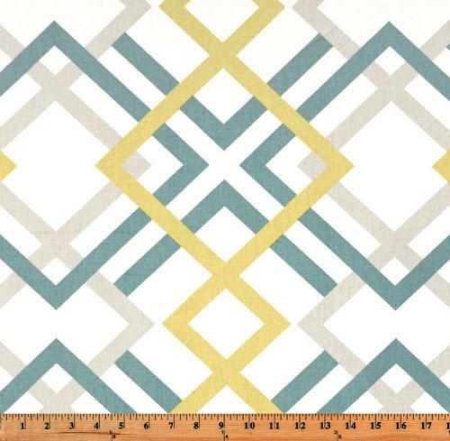 Saffron Yellow Pale Gold Blue Gray White Winston Modern Geometric Curtains Grommet 84 96 108 Or