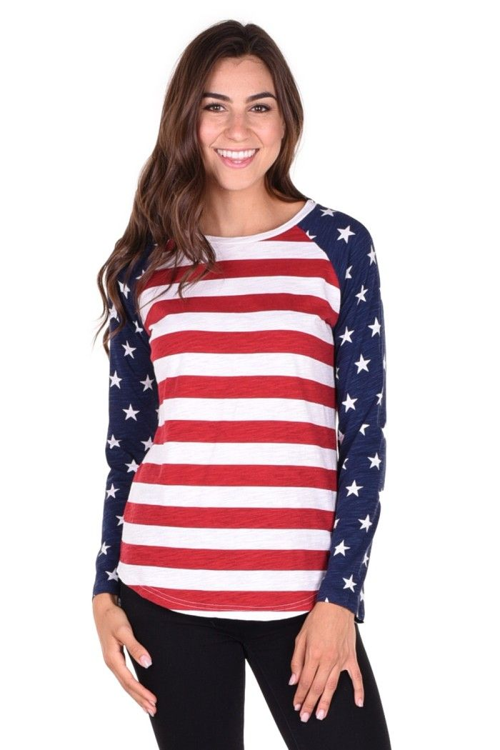 9b786e49d20f67 Women s American Flag Raglan Shirt - Ronald Ragin