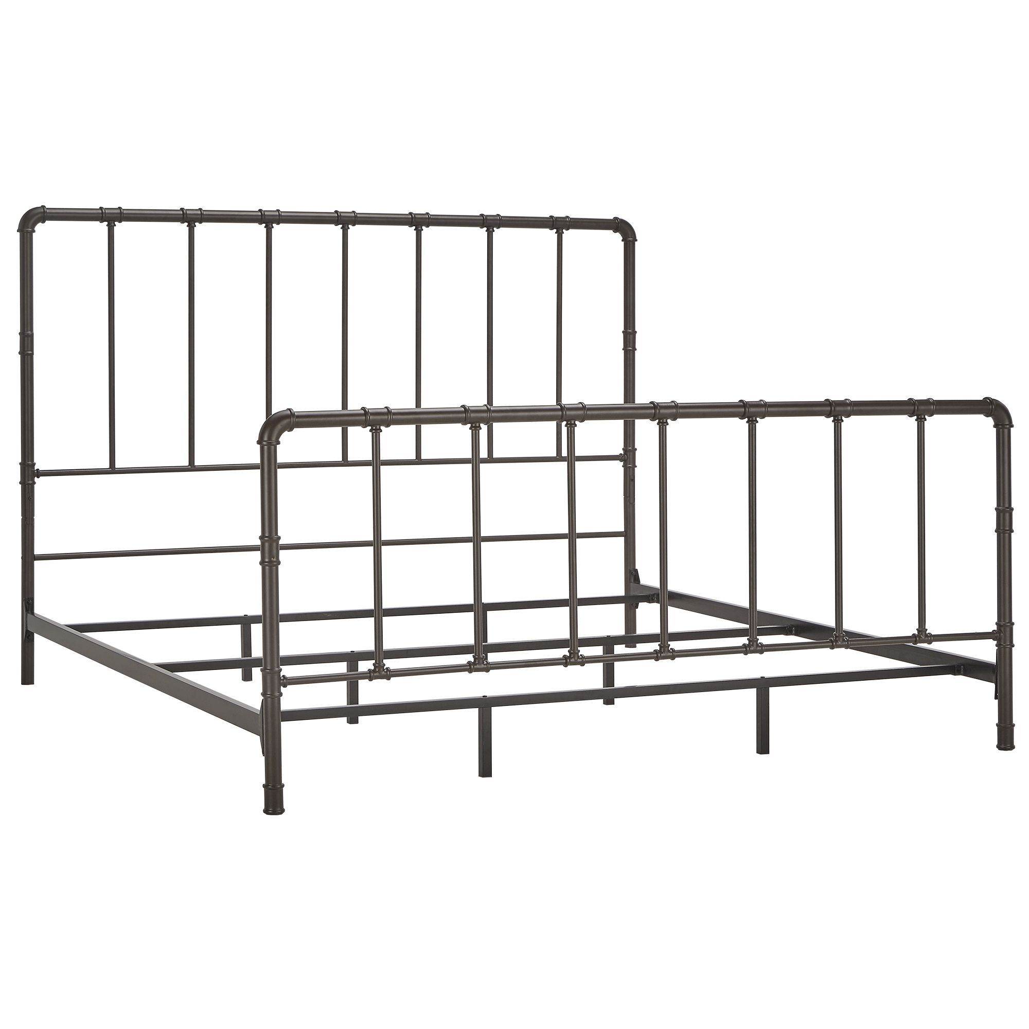West Antique Industrial Lines Iron King-size Metal Bed by iNSPIRE Q ...