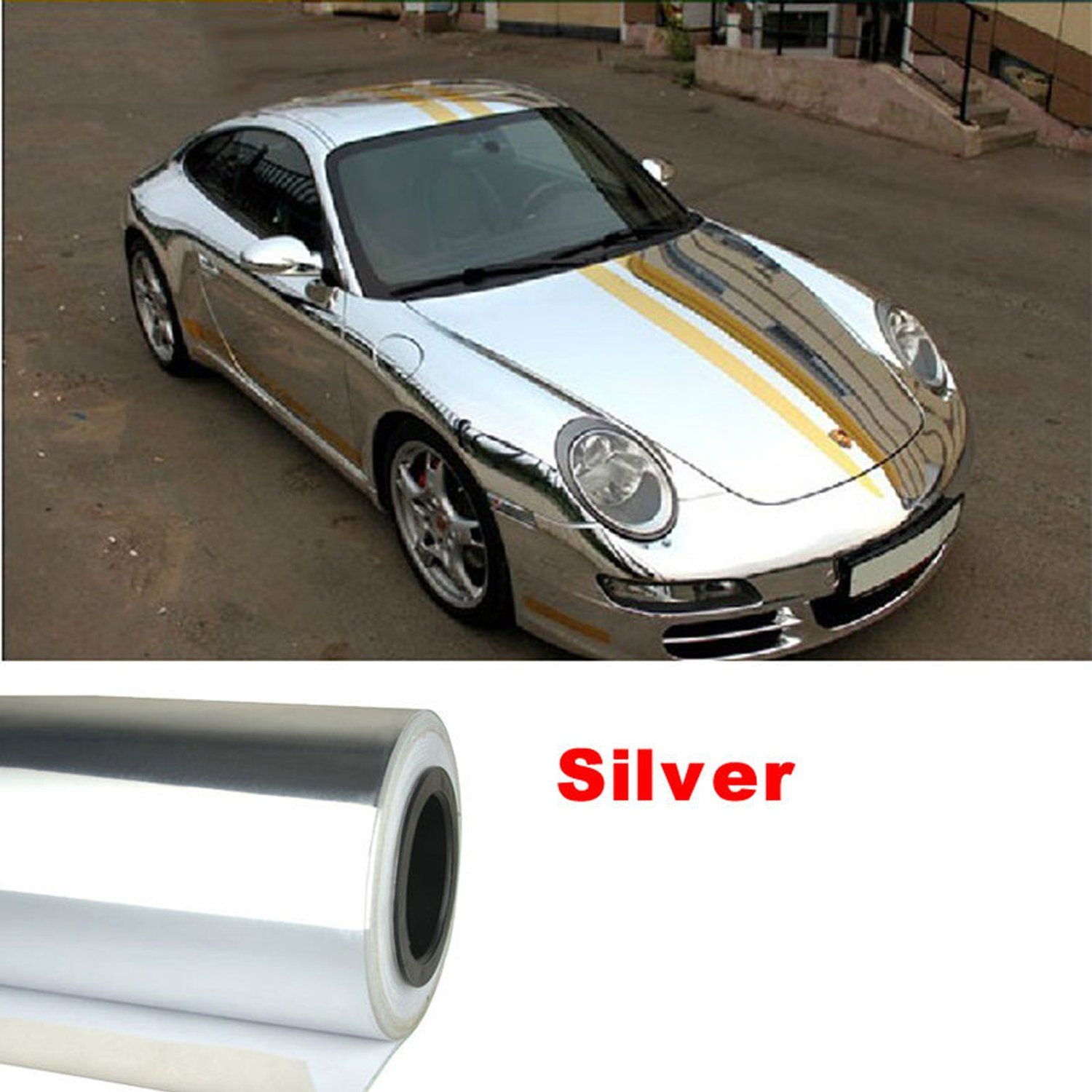 Amazon Com Nuoya001 New 12 X60 Silver Metallic Car Sticker Wrap Sheet Cover Mirror Chrome Film Decal Baby Car Stickers Mirror Vinyl Vinyl Decals