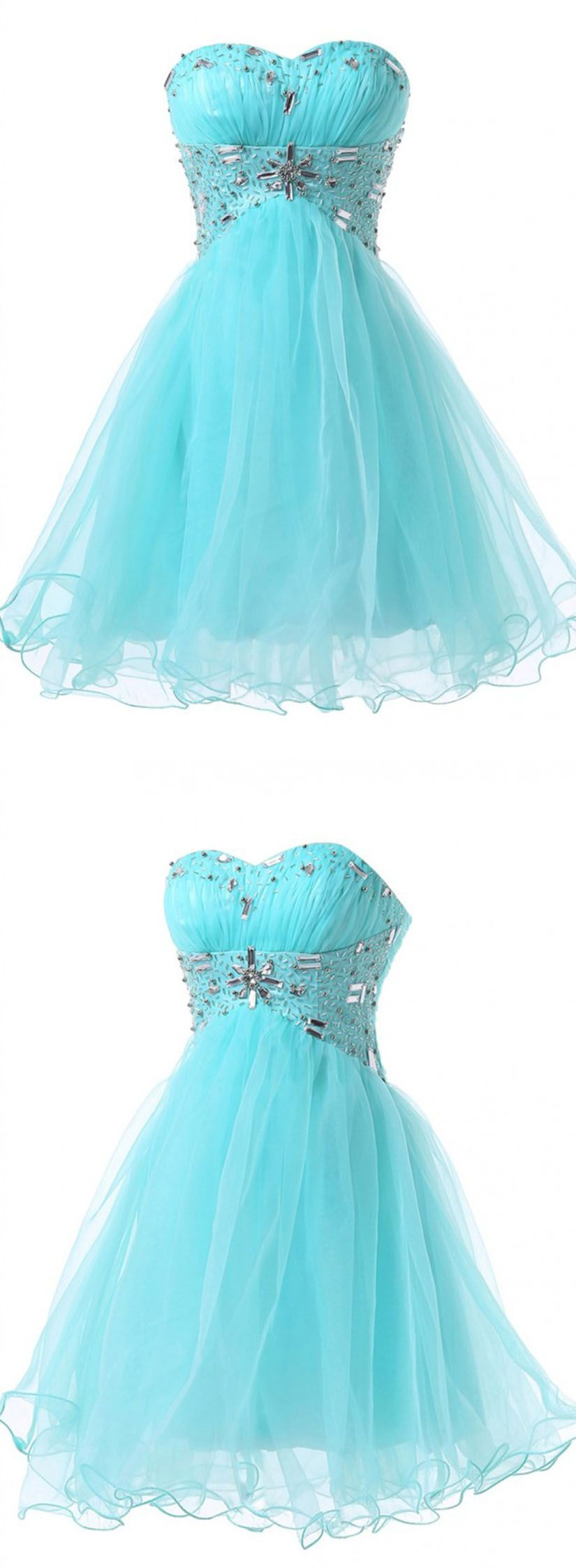 Modern sweetheart beading aline blue short prom dresses homecoming