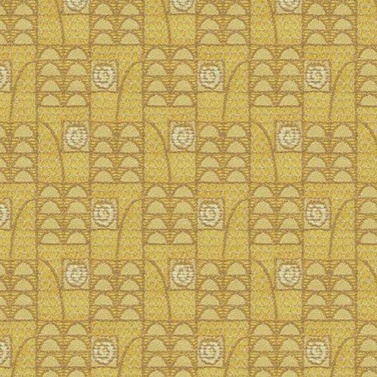 Art Deco Art Nouveau Yellow Flat Weave Curtain And Upholstery Fabric