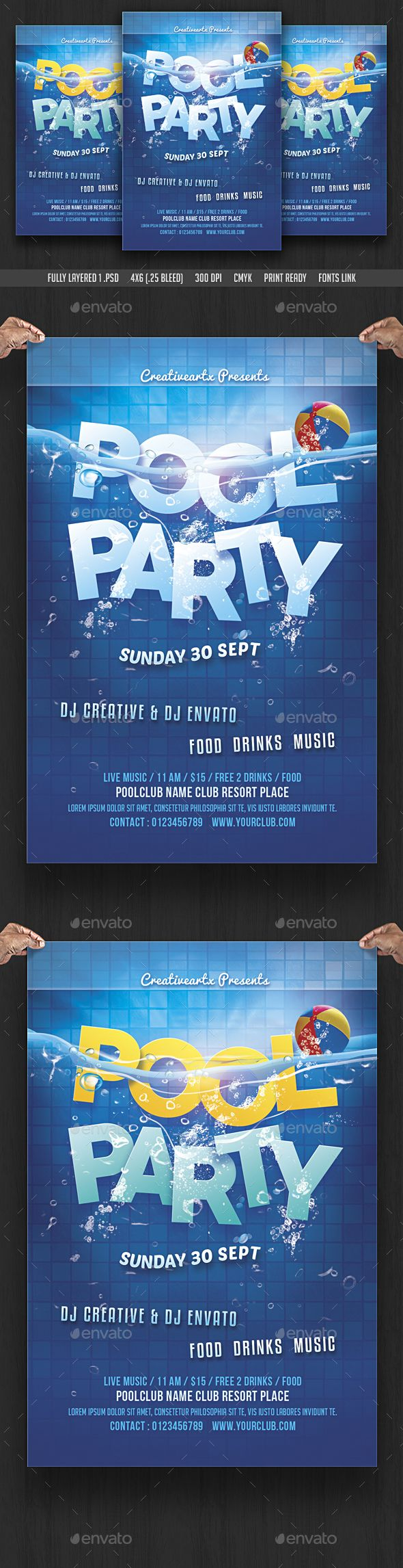 Pool Party Flyer Psd Template • Download ➝  Https://graphicriver.net/item/pool-Party-Flyer-Template/17134093?ref=Pxcr
