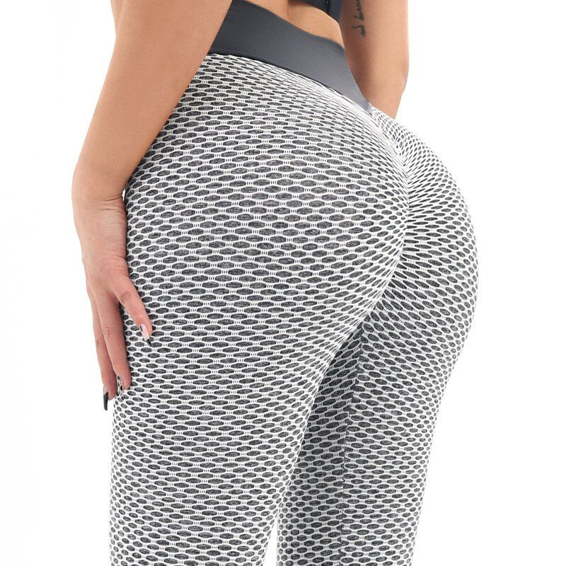 INITIALDREAM Honeycomb Fitness Women Leggings High Waist Booty Lfiting Push Up Pants Seamless Workout Gym Ankle Length Leggings