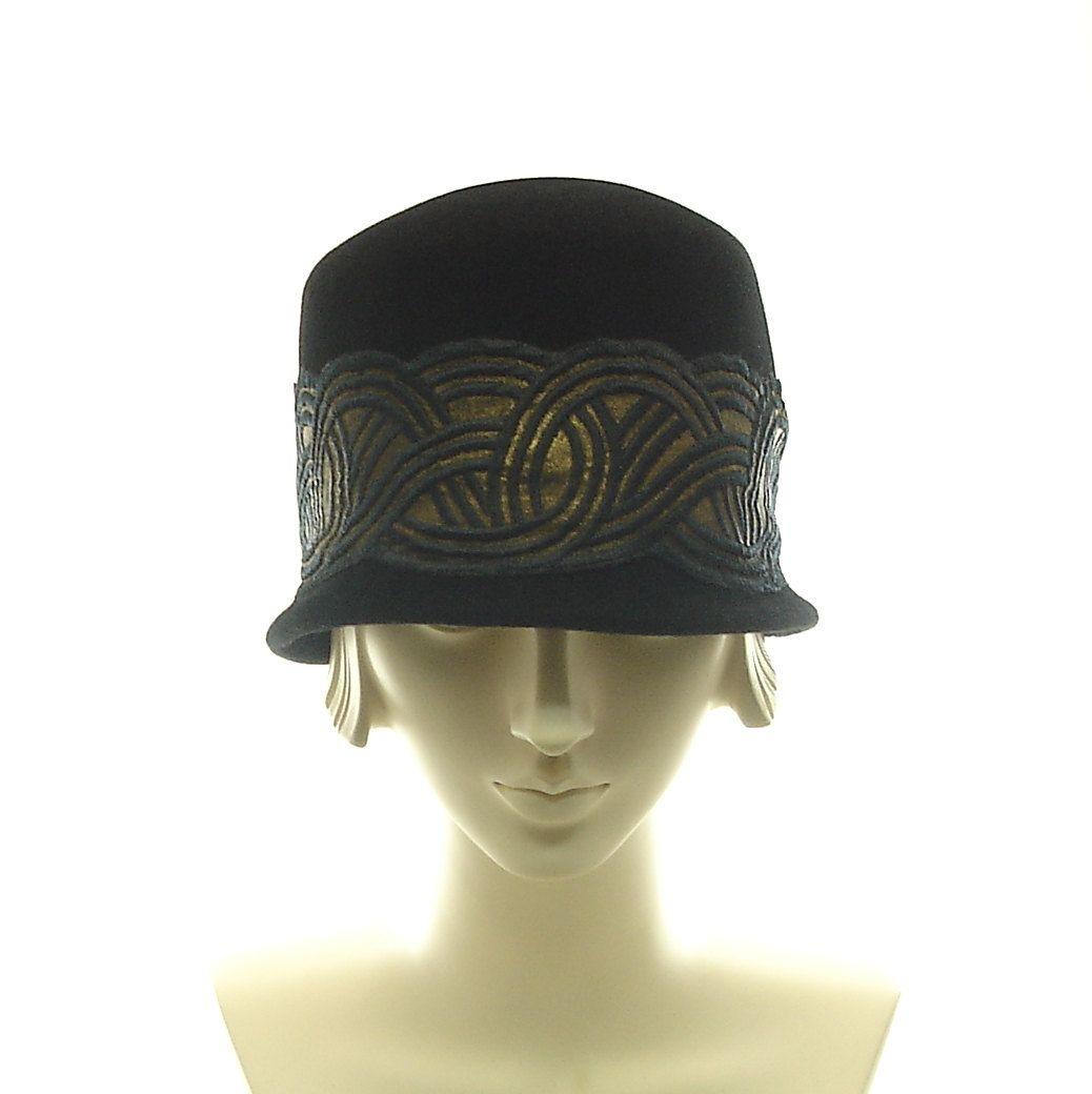 Felt Cloche Hat for Women - 1920s Flapper Hat - Black Hat - Art Deco Fashion Hat - size small. $250.00, via Etsy.