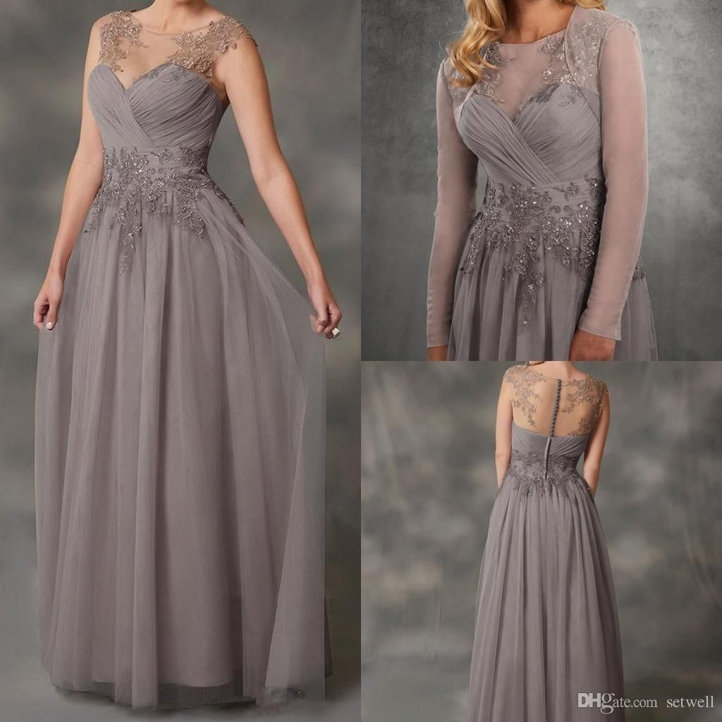 new gray chiffon mother of the bride dresses aline applique