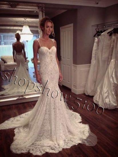 Elegant Open Back Mermaid Wedding Dresses Spaghetti Strap