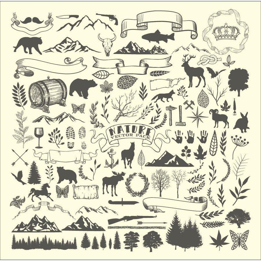 Adventure Lumberjack Mountain Animal Hunting Nature Etsy Clip Art Animal Clipart Camping Clipart